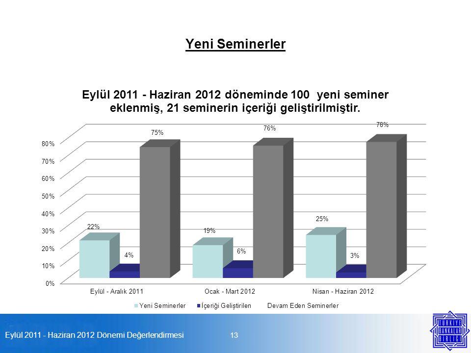 Eylül 2011 - Haziran 2012 Dönemi Değerlendirmesi 13 Yeni Seminerler