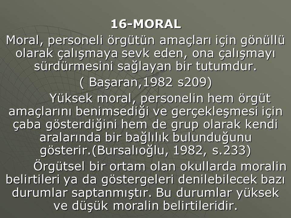 16-MORAL Moral, personeli örgütün amaçları için gönüllü olarak çalışmaya sevk eden, ona çalışmayı sürdürmesini sağlayan bir tutumdur. ( Başaran,1982 s