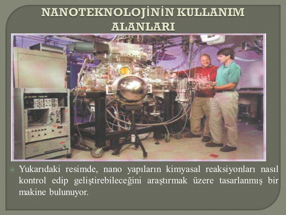  Yukarıdaki resimde, nano yapıların kimyasal reaksiyonları nasıl kontrol edip geliştirebileceğini araştırmak üzere tasarlanmış bir makine bulunuyor.