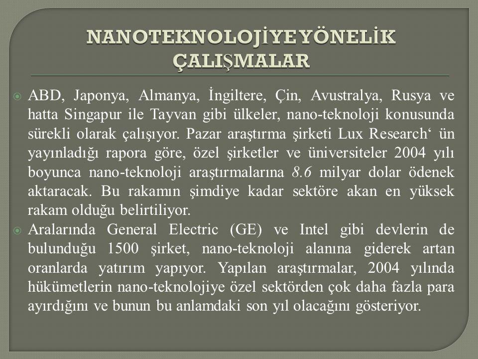  ABD, Japonya, Almanya, İngiltere, Çin, Avustralya, Rusya ve hatta Singapur ile Tayvan gibi ülkeler, nano-teknoloji konusunda sürekli olarak çalışıyo