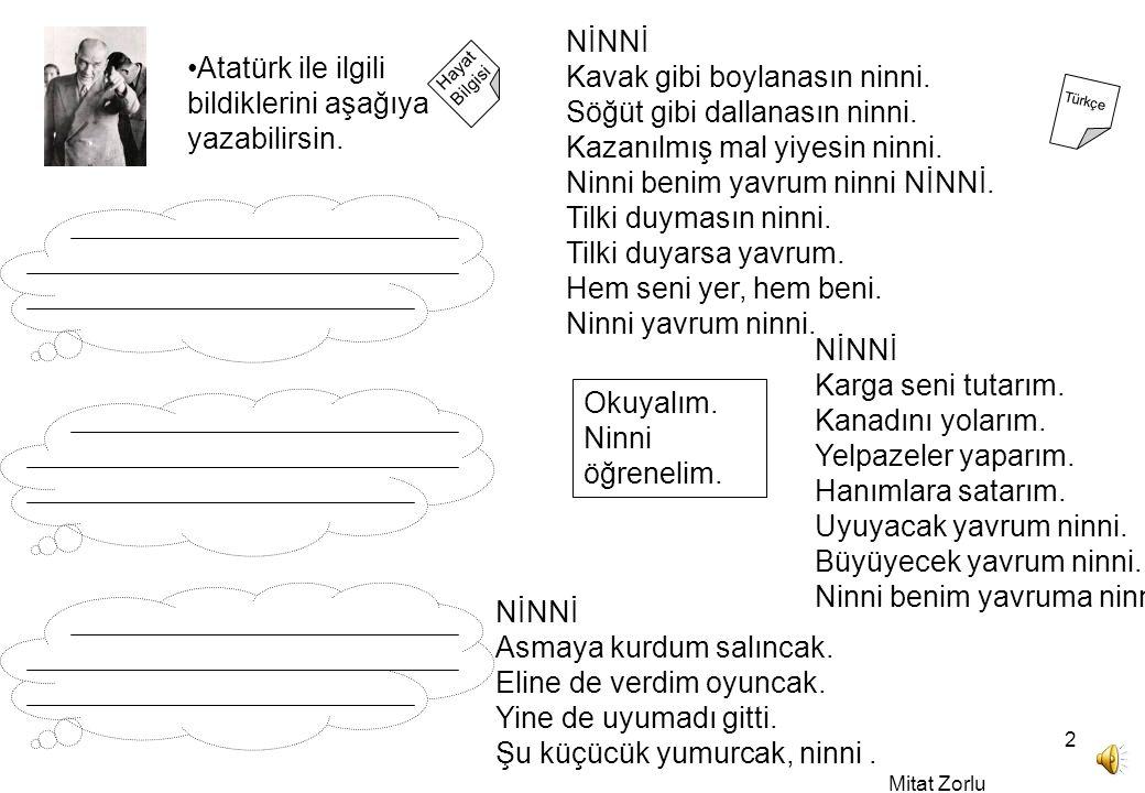 Mitat Zorlu 2 Hayat Bilgisi Türkçe Atatürk ile ilgili bildiklerini aşağıya yazabilirsin.