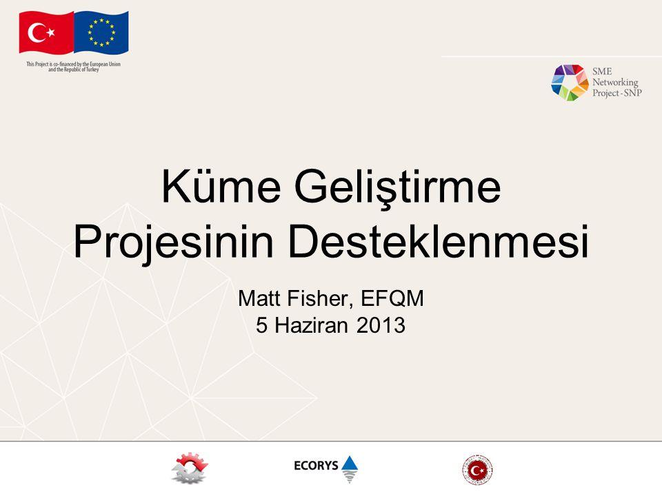 Küme Geliştirme Projesinin Desteklenmesi Matt Fisher, EFQM 5 Haziran 2013