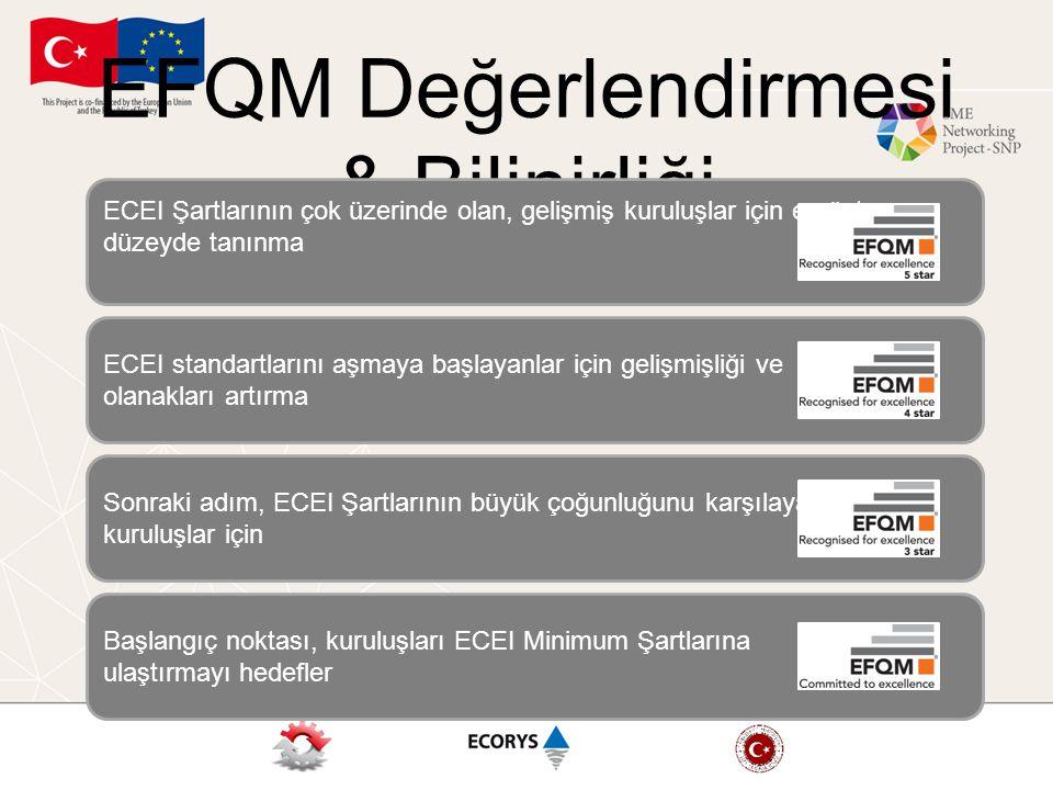 EFQM Değerlendirmesi & Bilinirliği Başlangıç noktası, kuruluşları ECEI Minimum Şartlarına ulaştırmayı hedefler Sonraki adım, ECEI Şartlarının büyük çoğunluğunu karşılayan kuruluşlar için ECEI standartlarını aşmaya başlayanlar için gelişmişliği ve olanakları artırma ECEI Şartlarının çok üzerinde olan, gelişmiş kuruluşlar için en üst düzeyde tanınma