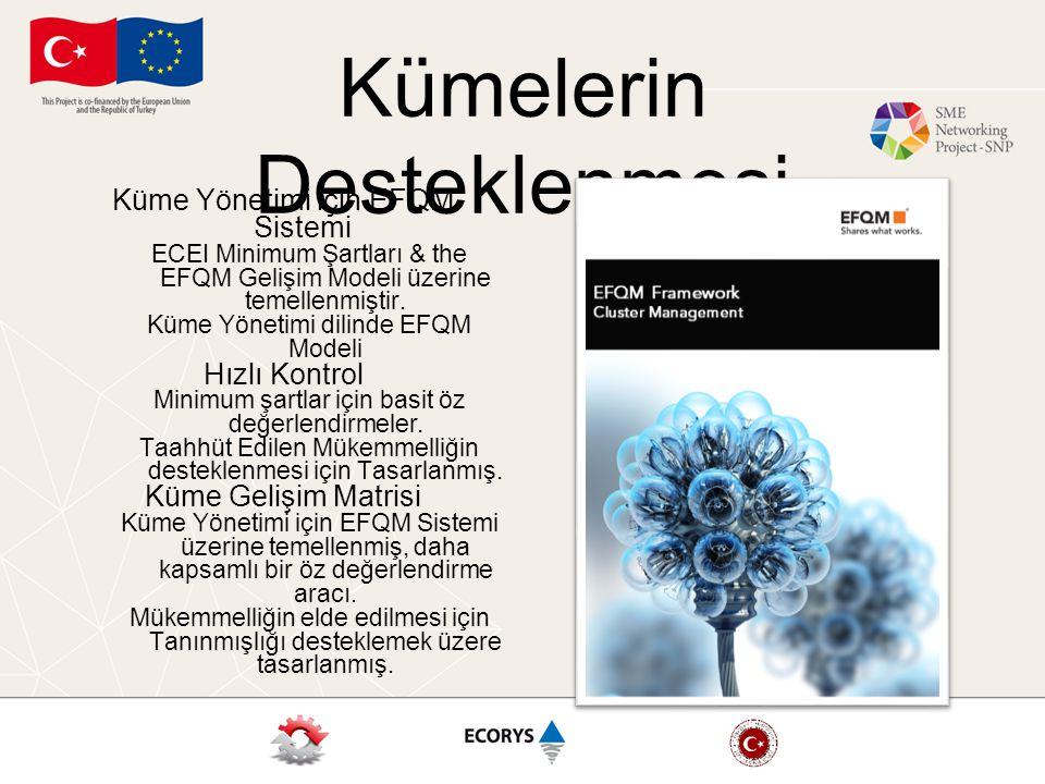 Kümelerin Desteklenmesi Küme Yönetimi için EFQM Sistemi ECEI Minimum Şartları & the EFQM Gelişim Modeli üzerine temellenmiştir.