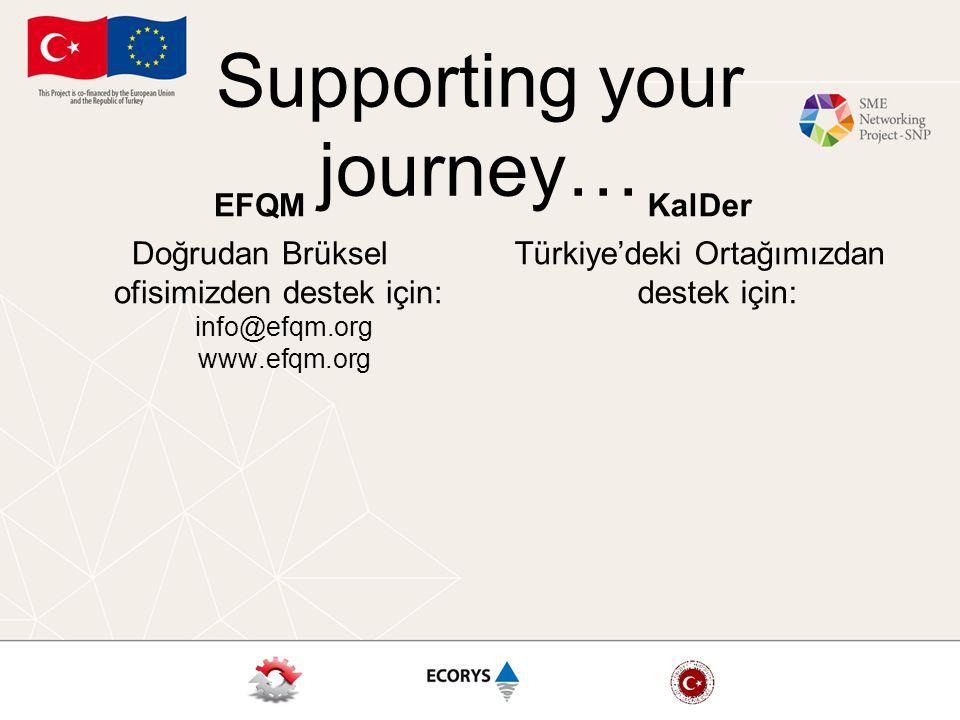 Supporting your journey… EFQM Doğrudan Brüksel ofisimizden destek için: info@efqm.org www.efqm.org KalDer Türkiye'deki Ortağımızdan destek için: