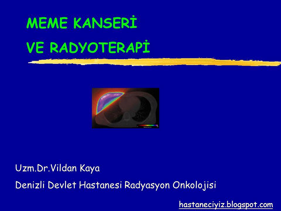 MEME KANSERİ VE RADYOTERAPİ Uzm.Dr.Vildan Kaya Denizli Devlet Hastanesi Radyasyon Onkolojisi hastaneciyiz.blogspot.com