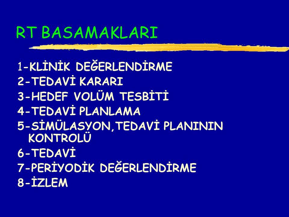 RT BASAMAKLARI 1-KLİNİK DEĞERLENDİRME 2-TEDAVİ KARARI 3-HEDEF VOLÜM TESBİTİ 4-TEDAVİ PLANLAMA 5-SİMÜLASYON,TEDAVİ PLANININ KONTROLÜ 6-TEDAVİ 7-PERİYODİK DEĞERLENDİRME 8-İZLEM