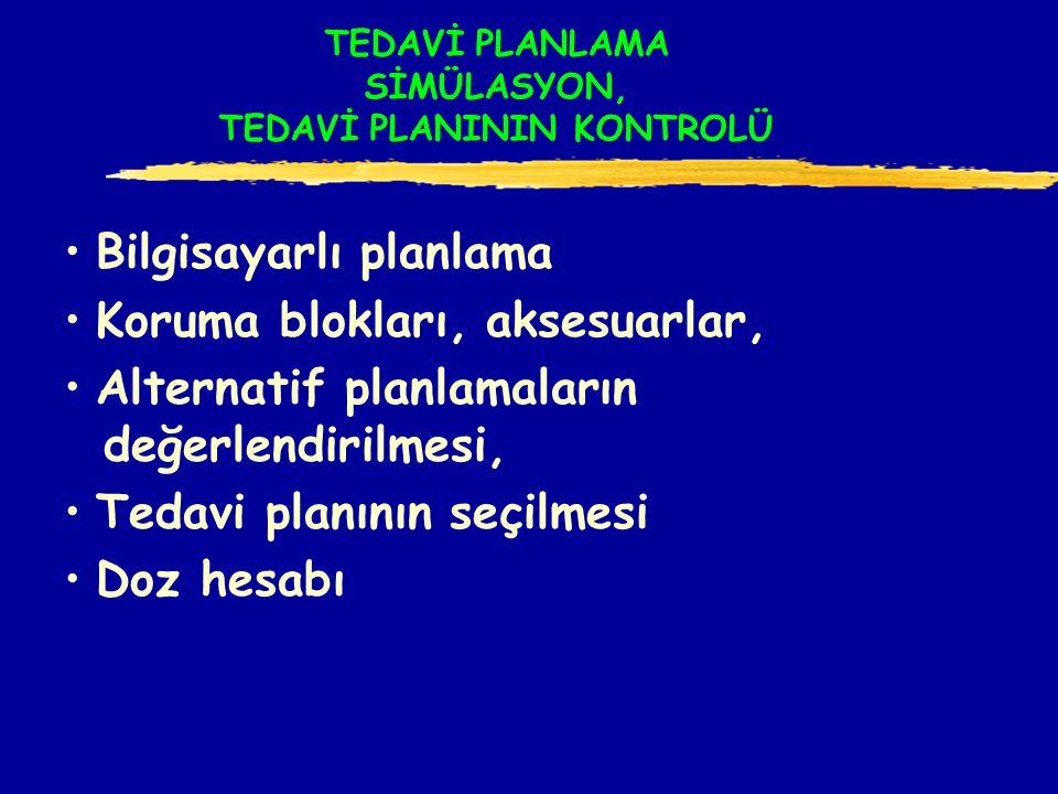 TEDAVİ PLANLAMA SİMÜLASYON, TEDAVİ PLANININ KONTROLÜ Bilgisayarlı planlama Koruma blokları, aksesuarlar, Alternatif planlamaların değerlendirilmesi, Tedavi planının seçilmesi Doz hesabı