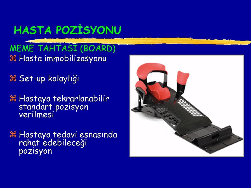 HASTA POZİSYONU MEME TAHTASI (BOARD) zHasta immobilizasyonu zSet-up kolaylığı zHastaya tekrarlanabilir standart pozisyon verilmesi zHastaya tedavi esnasında rahat edebileceği pozisyon