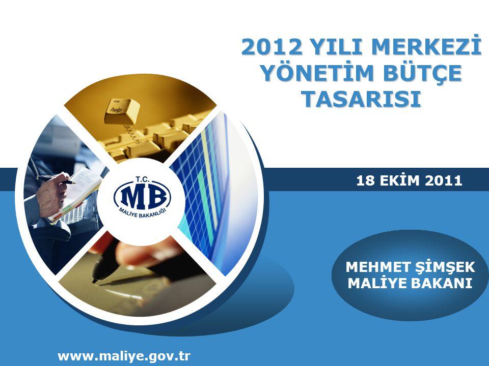 2012 YILI MERKEZİ YÖNETİM BÜTÇE TASARISI www.maliye.gov.tr MEHMET ŞİMŞEK MALİYE BAKANI 18 EKİM 2011