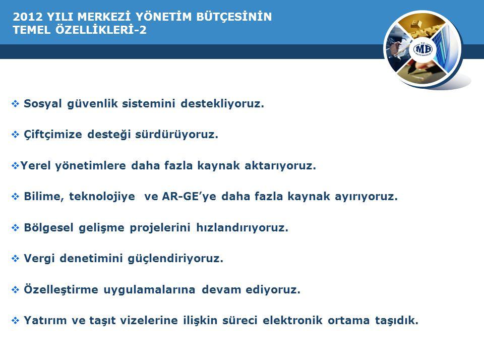 2012 YILI MERKEZİ YÖNETİM BÜTÇESİNİN TEMEL ÖZELLİKLERİ-2  Sosyal güvenlik sistemini destekliyoruz.