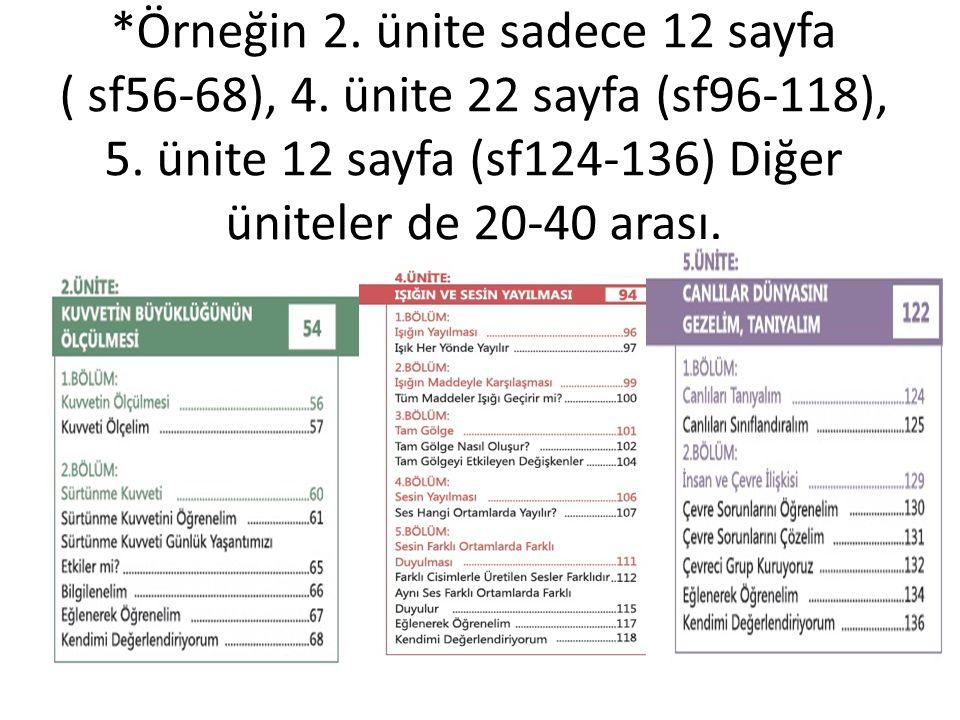 *Örneğin 2. ünite sadece 12 sayfa ( sf56-68), 4. ünite 22 sayfa (sf96-118), 5. ünite 12 sayfa (sf124-136) Diğer üniteler de 20-40 arası.