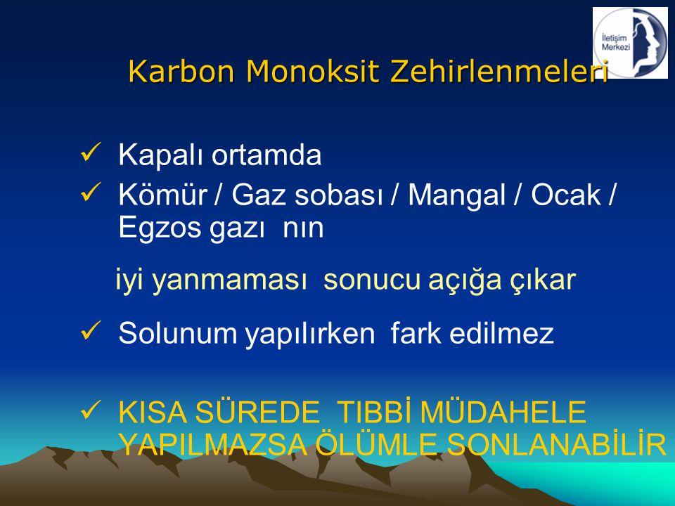 Kapalı ortamda Kömür / Gaz sobası / Mangal / Ocak / Egzos gazı nın iyi yanmaması sonucu açığa çıkar Solunum yapılırken fark edilmez KISA SÜREDE TIBBİ