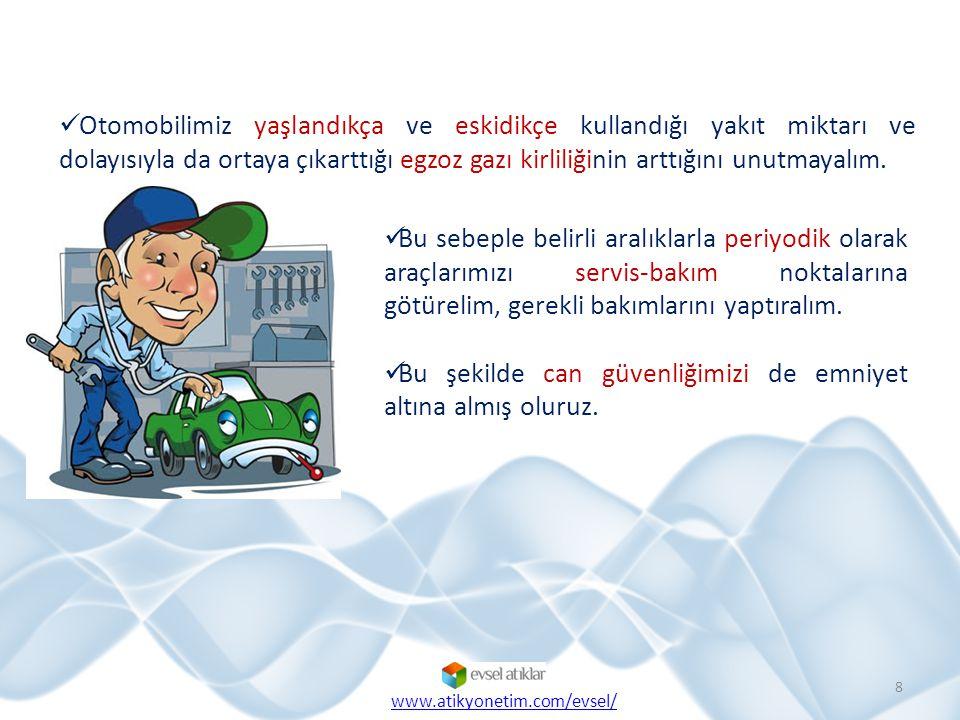 Otomobilimiz yaşlandıkça ve eskidikçe kullandığı yakıt miktarı ve dolayısıyla da ortaya çıkarttığı egzoz gazı kirliliğinin arttığını unutmayalım. 8 Bu