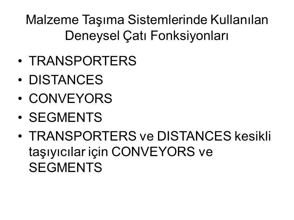 Malzeme Taşıma Sistemlerinde Kullanılan Deneysel Çatı Fonksiyonları TRANSPORTERS DISTANCES CONVEYORS SEGMENTS TRANSPORTERS ve DISTANCES kesikli taşıyıcılar için CONVEYORS ve SEGMENTS