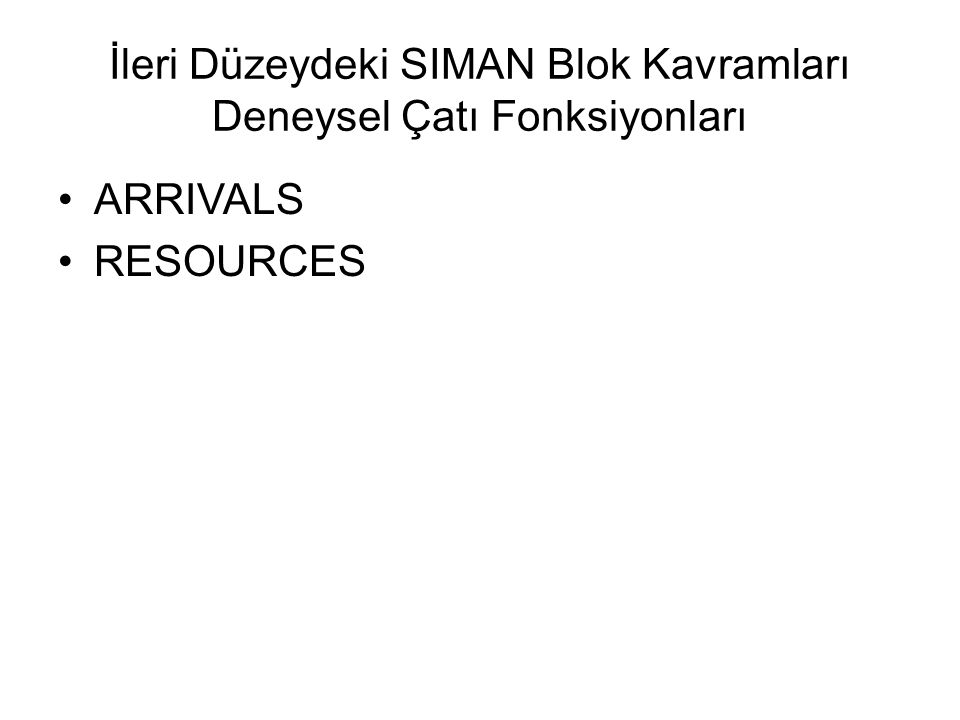 İleri Düzeydeki SIMAN Blok Kavramları Deneysel Çatı Fonksiyonları ARRIVALS RESOURCES