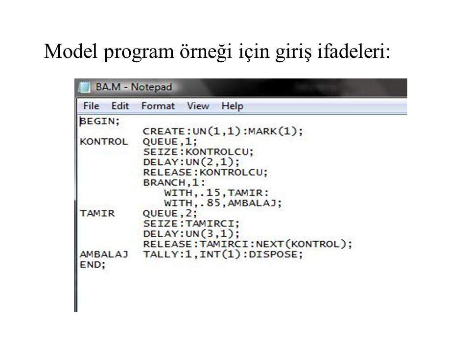 Model program örneği için giriş ifadeleri: