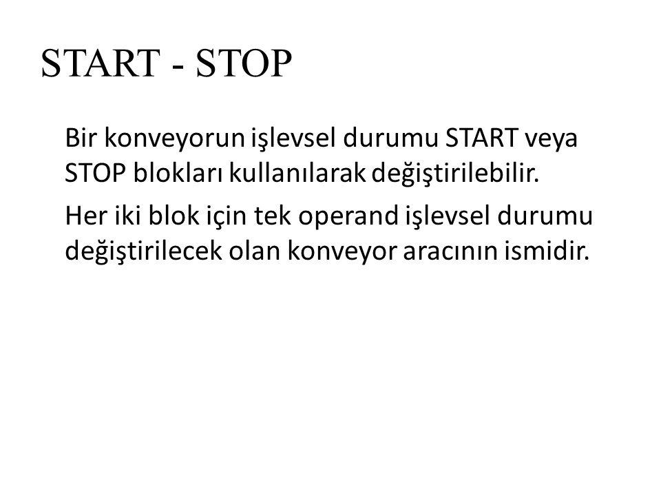 START - STOP Bir konveyorun işlevsel durumu START veya STOP blokları kullanılarak değiştirilebilir.