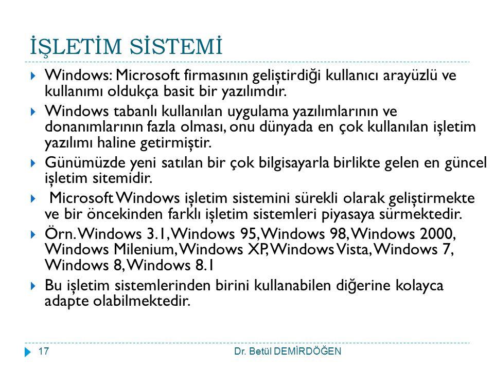 İŞLETİM SİSTEMİ Dr. Betül DEMİRDÖĞEN17  Windows: Microsoft firmasının geliştirdi ğ i kullanıcı arayüzlü ve kullanımı oldukça basit bir yazılımdır. 