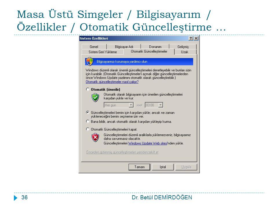 Masa Üstü Simgeler / Bilgisayarım / Özellikler / Otomatik Güncelleştirme … Dr. Betül DEMİRDÖĞEN36