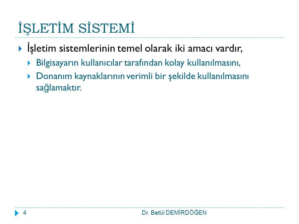 İŞLETİM SİSTEMİ Dr. Betül DEMİRDÖĞEN5