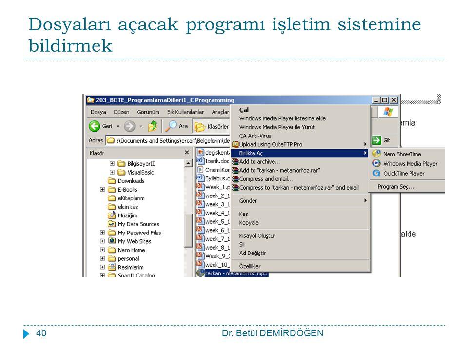 Dosyaları açacak programı işletim sistemine bildirmek Dr. Betül DEMİRDÖĞEN40