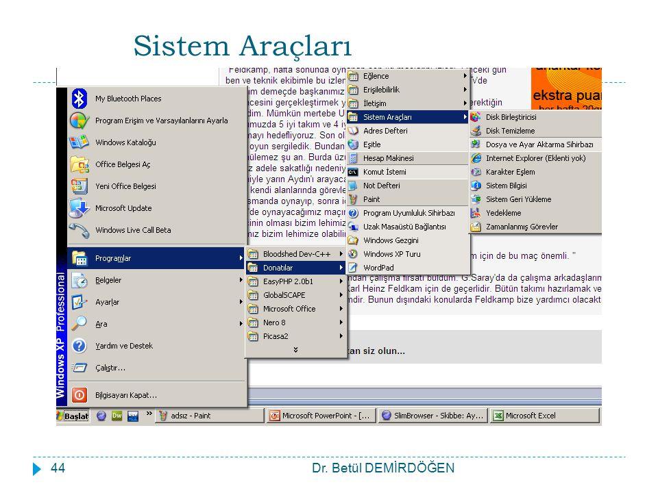 Sistem Araçları Dr. Betül DEMİRDÖĞEN44
