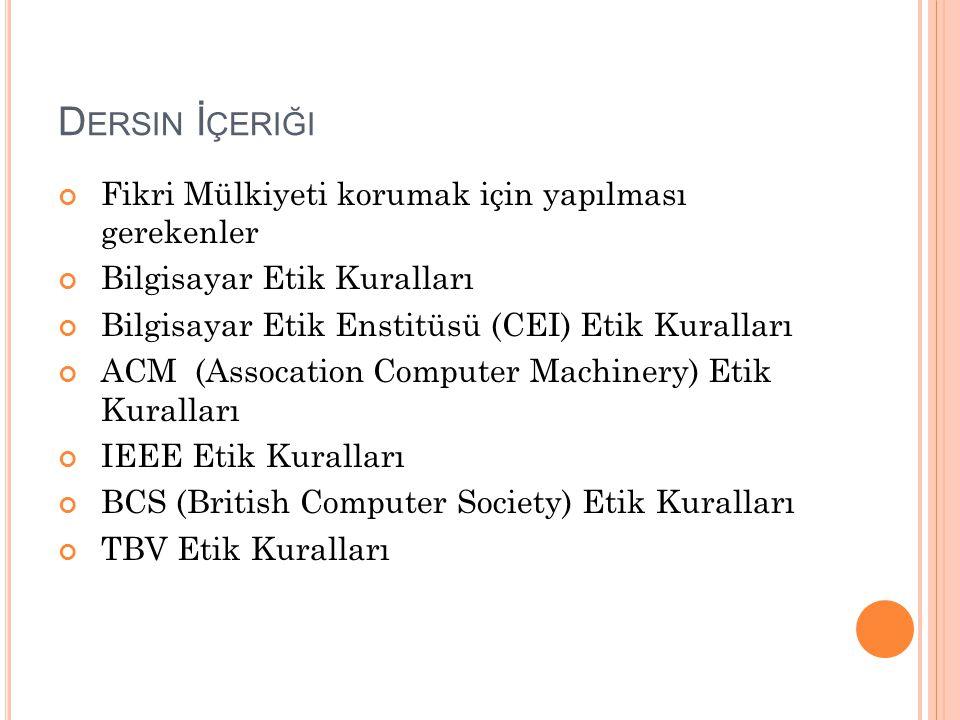 FİKRİ MÜLKİYETİ KORUMA ÖNERİLERİ (SİZDEN GELENLER) Türk Patent Enstitüsü bünyesinde yeni birimlerin açılması gerekiyor (Derya Çolak) Sadece ceza vermek etkili olmaz; bu konuda çeşitli sompozyumlar, reklamlar, tv lerde ve internette bilgi verici yayınlar yapılmalı halk eğitilmeli (Şenay Çetin) Güzel bir örnek olay ile sorunu vurgulayan Ubeyde Uğurlu devamında şu soruyu soruyor: Sadece ceza alma korkumuzdan mı gidip bir evi soymuyoruz yada bir insanın canına kıymıyoruz.