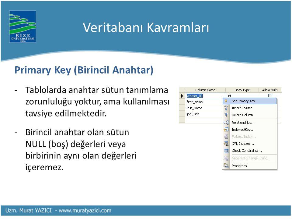 Veritabanı Kavramları Primary Key (Birincil Anahtar) -Tablolarda anahtar sütun tanımlama zorunluluğu yoktur, ama kullanılması tavsiye edilmektedir.