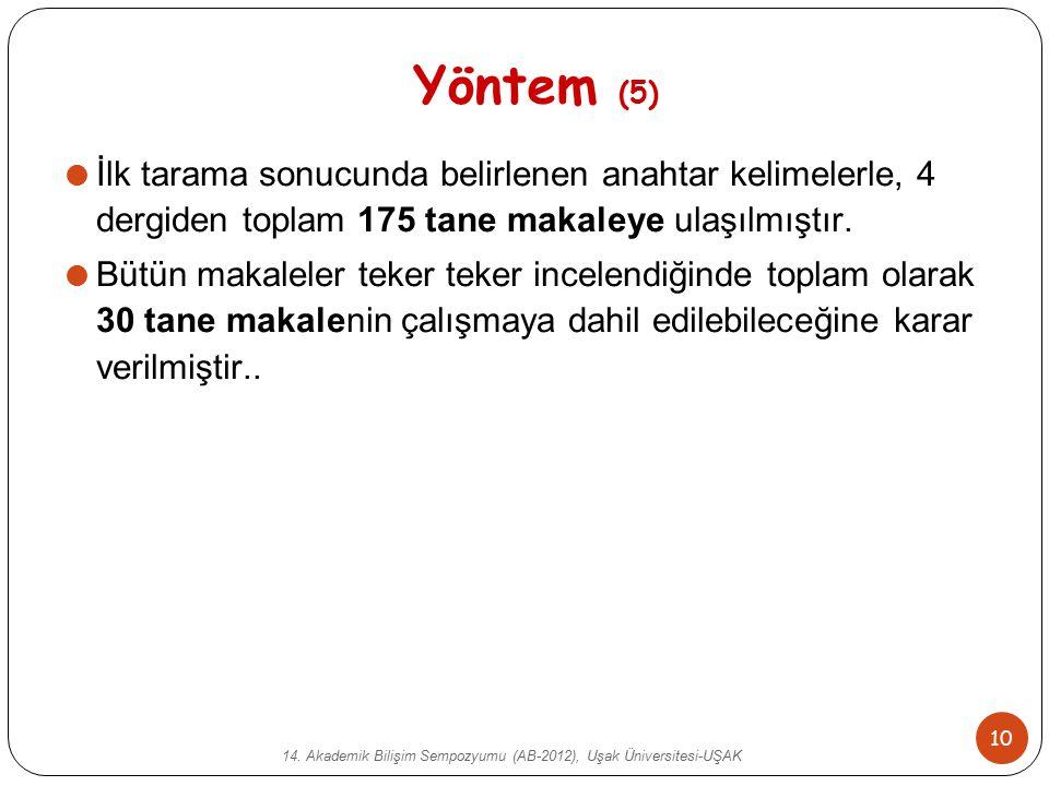 14. Akademik Bilişim Sempozyumu (AB-2012), Uşak Üniversitesi-UŞAK 10 Yöntem (5)  İlk tarama sonucunda belirlenen anahtar kelimelerle, 4 dergiden topl