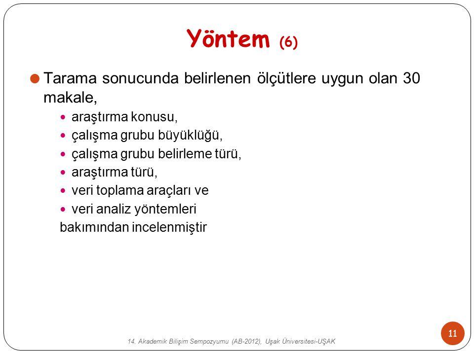 14. Akademik Bilişim Sempozyumu (AB-2012), Uşak Üniversitesi-UŞAK 11 Yöntem (6)  Tarama sonucunda belirlenen ölçütlere uygun olan 30 makale, araştırm