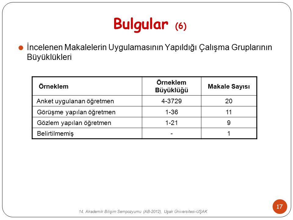 14. Akademik Bilişim Sempozyumu (AB-2012), Uşak Üniversitesi-UŞAK 17 Bulgular (6)  İncelenen Makalelerin Uygulamasının Yapıldığı Çalışma Gruplarının