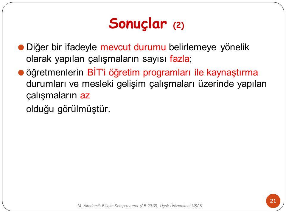 14. Akademik Bilişim Sempozyumu (AB-2012), Uşak Üniversitesi-UŞAK 21 Sonuçlar (2)  Diğer bir ifadeyle mevcut durumu belirlemeye yönelik olarak yapıla