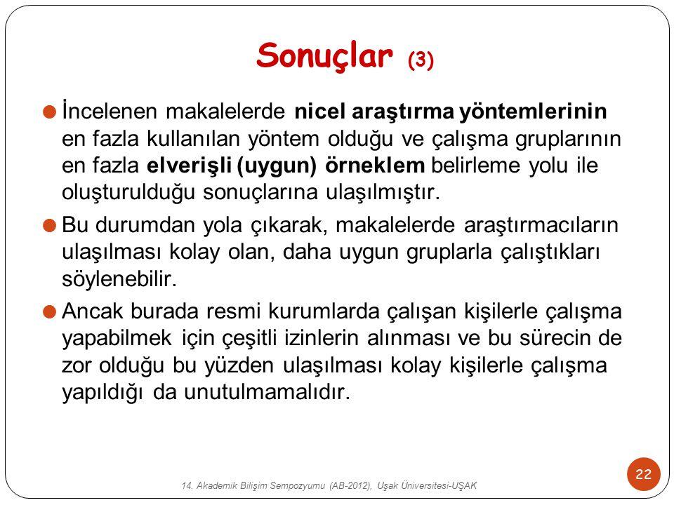 14. Akademik Bilişim Sempozyumu (AB-2012), Uşak Üniversitesi-UŞAK 22 Sonuçlar (3)  İncelenen makalelerde nicel araştırma yöntemlerinin en fazla kulla