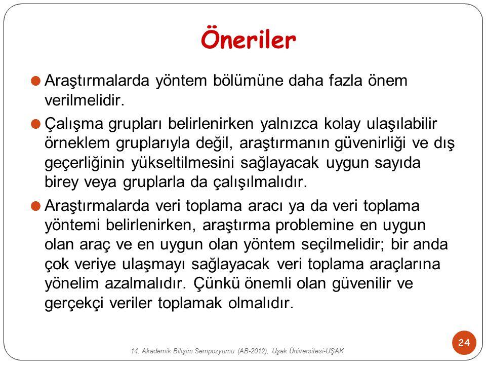 14. Akademik Bilişim Sempozyumu (AB-2012), Uşak Üniversitesi-UŞAK 24 Öneriler  Araştırmalarda yöntem bölümüne daha fazla önem verilmelidir.  Çalışma
