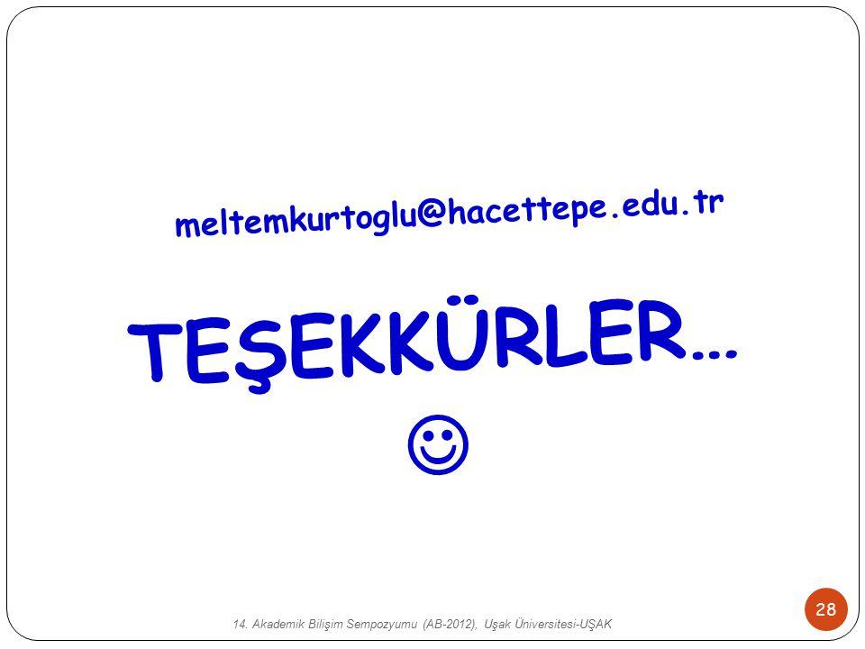 14. Akademik Bilişim Sempozyumu (AB-2012), Uşak Üniversitesi-UŞAK 28 TEŞEKKÜRLER… meltemkurtoglu@hacettepe.edu.tr