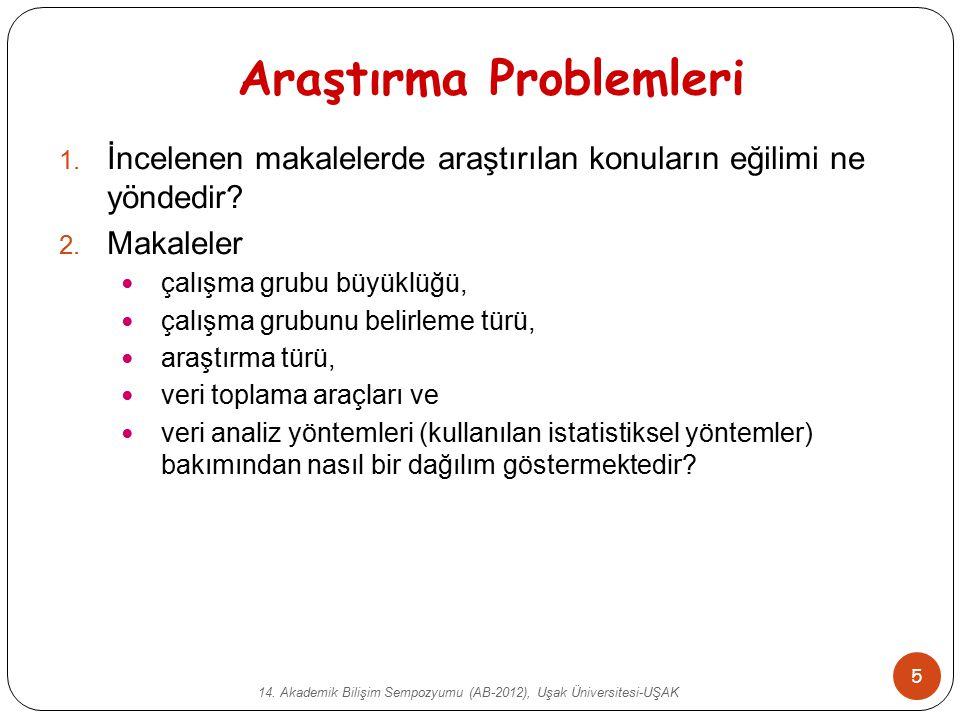 14. Akademik Bilişim Sempozyumu (AB-2012), Uşak Üniversitesi-UŞAK 5 Araştırma Problemleri 1. İncelenen makalelerde araştırılan konuların eğilimi ne yö