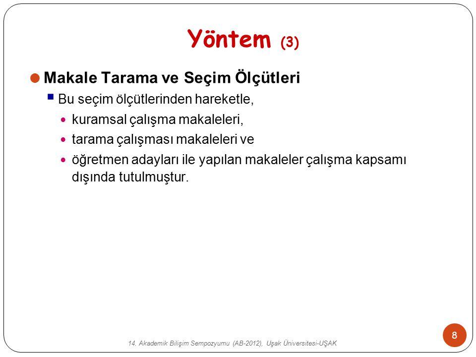 14. Akademik Bilişim Sempozyumu (AB-2012), Uşak Üniversitesi-UŞAK 8 Yöntem (3)  Makale Tarama ve Seçim Ölçütleri  Bu seçim ölçütlerinden hareketle,