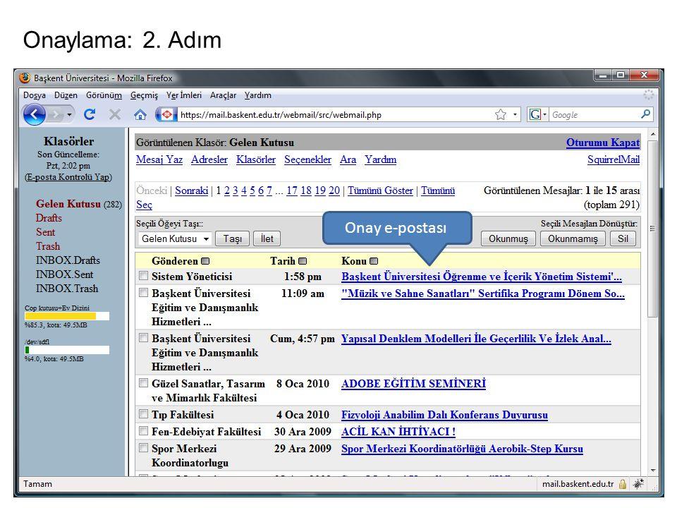 Onaylama: 2. Adım Onay e-postası