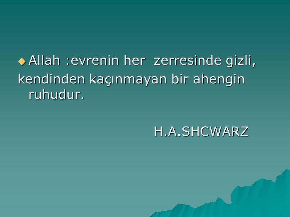  Allah :evrenin her zerresinde gizli, kendinden kaçınmayan bir ahengin ruhudur. H.A.SHCWARZ H.A.SHCWARZ