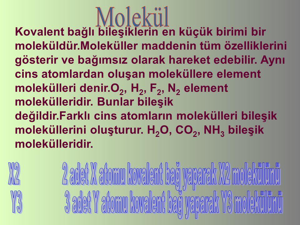 Kovalent bağlı bileşiklerin en küçük birimi bir moleküldür.Moleküller maddenin tüm özelliklerini gösterir ve bağımsız olarak hareket edebilir. Aynı ci