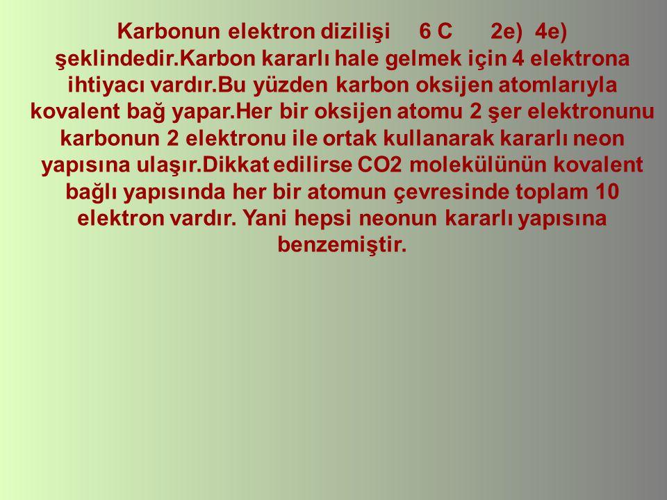 Karbonun elektron dizilişi 6 C 2e) 4e) şeklindedir.Karbon kararlı hale gelmek için 4 elektrona ihtiyacı vardır.Bu yüzden karbon oksijen atomlarıyla ko