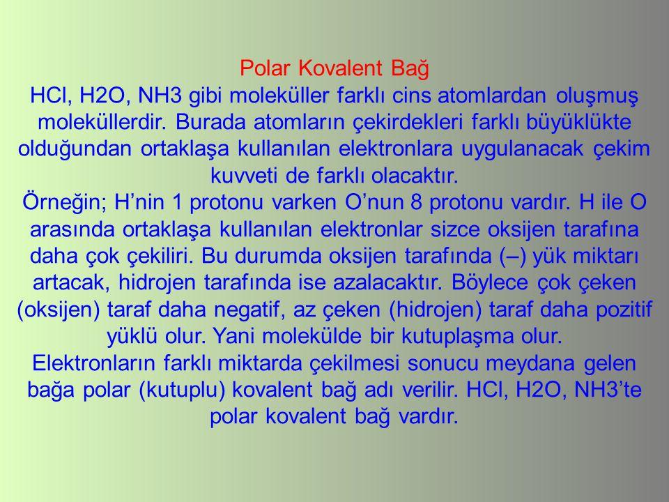 Polar Kovalent Bağ HCl, H2O, NH3 gibi moleküller farklı cins atomlardan oluşmuş moleküllerdir. Burada atomların çekirdekleri farklı büyüklükte olduğun