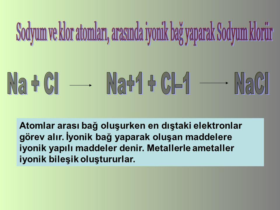 Atomlar arası bağ oluşurken en dıştaki elektronlar görev alır. İyonik bağ yaparak oluşan maddelere iyonik yapılı maddeler denir. Metallerle ametaller