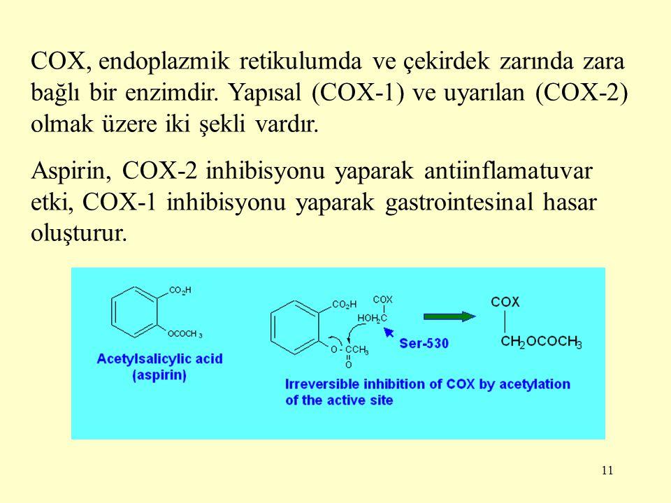 11 COX, endoplazmik retikulumda ve çekirdek zarında zara bağlı bir enzimdir. Yapısal (COX-1) ve uyarılan (COX-2) olmak üzere iki şekli vardır. Aspirin