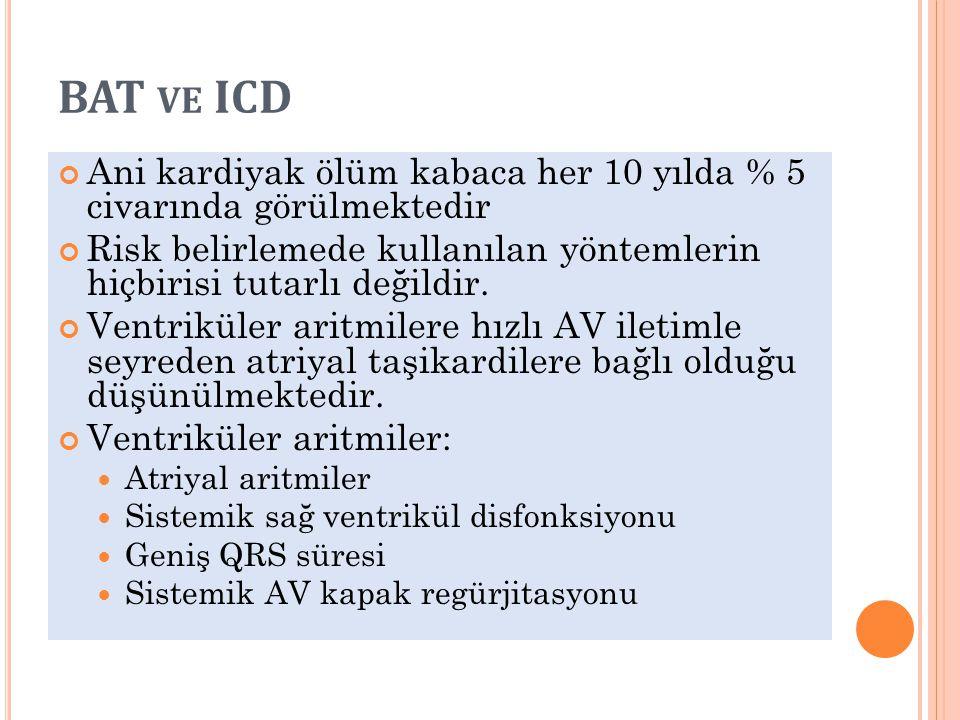 BAT VE ICD Ani kardiyak ölüm kabaca her 10 yılda % 5 civarında görülmektedir Risk belirlemede kullanılan yöntemlerin hiçbirisi tutarlı değildir. Ventr