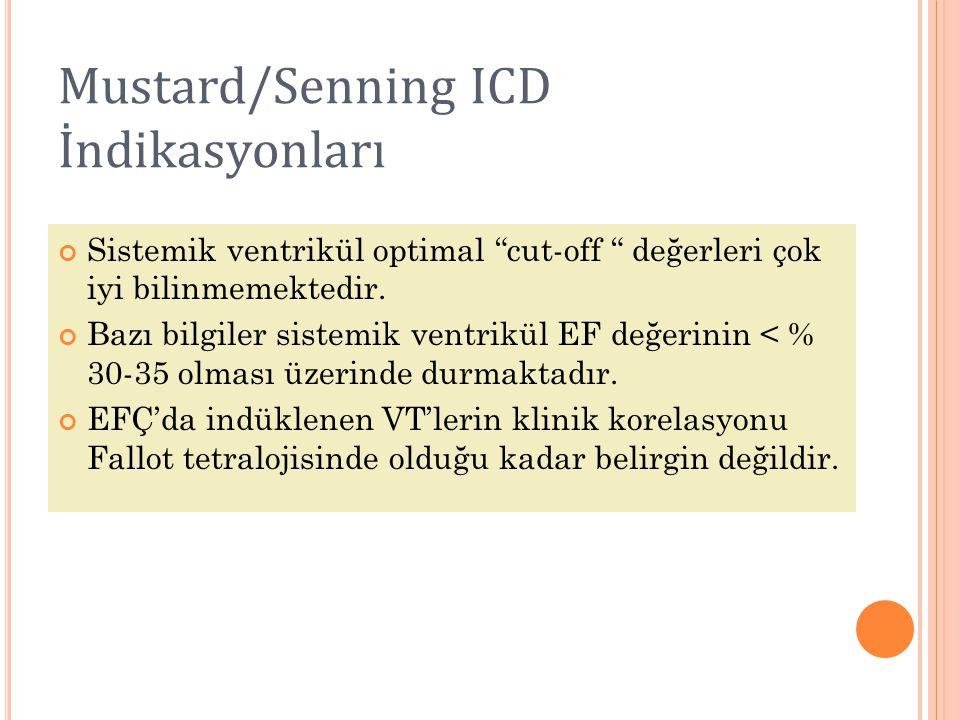 """Mustard/Senning ICD İndikasyonları Sistemik ventrikül optimal """"cut-off """" değerleri çok iyi bilinmemektedir. Bazı bilgiler sistemik ventrikül EF değeri"""