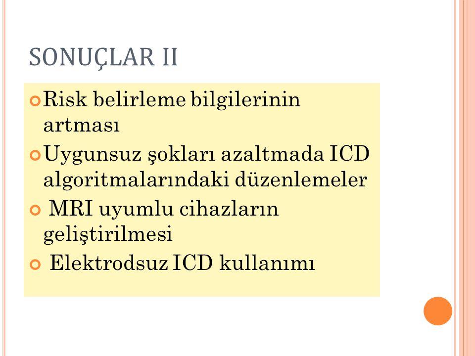 SONUÇLAR II Risk belirleme bilgilerinin artması Uygunsuz şokları azaltmada ICD algoritmalarındaki düzenlemeler MRI uyumlu cihazların geliştirilmesi El