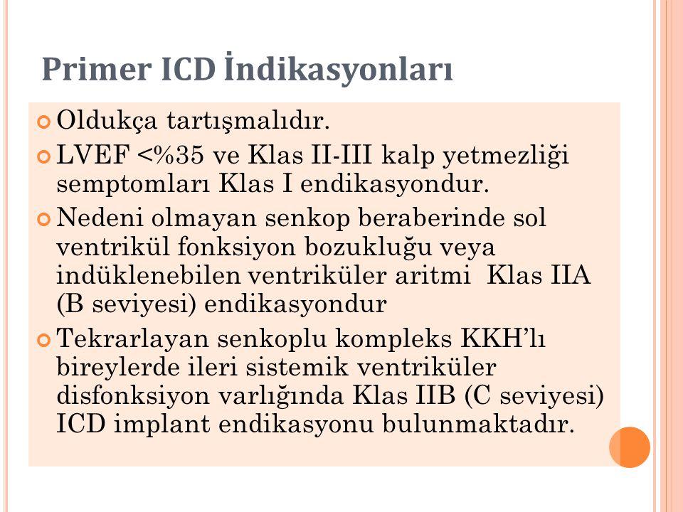 Primer ICD İndikasyonları Oldukça tartışmalıdır. LVEF <%35 ve Klas II-III kalp yetmezliği semptomları Klas I endikasyondur. Nedeni olmayan senkop bera