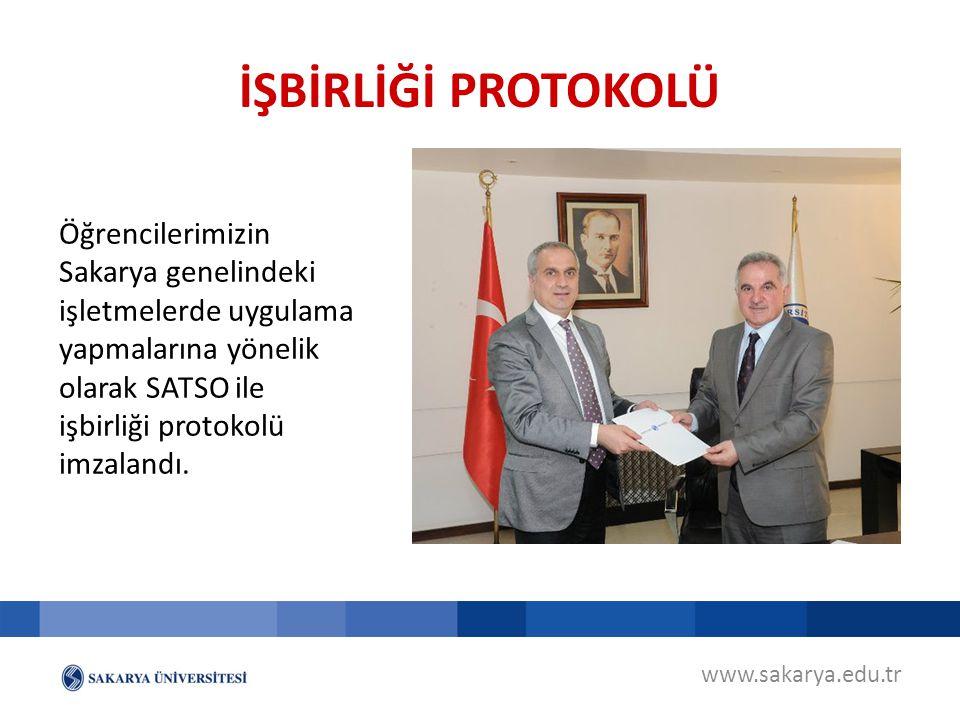 www.sakarya.edu.tr Öğrencilerimizin Sakarya genelindeki işletmelerde uygulama yapmalarına yönelik olarak SATSO ile işbirliği protokolü imzalandı. İŞBİ